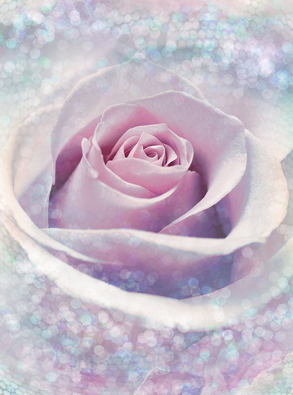 Mystic Rose Wall Mural-Encompassed in a mystical whirlpool of glittering light, a single pink rose blooms.