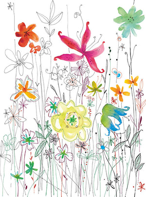Joli Wall Mural-Various colored flowers create an energetic scene,