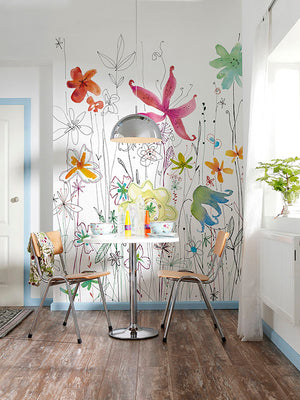 Joli Wall Mural-Various colored flowers create an energetic scene, hung in eating area