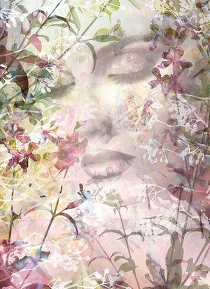Sense Wall Mural-ramatic and mysterious, a beautiful woman's face peeks out from stunning forest flowers in this romantic wall mural. It has pink, green, and yellow hues.