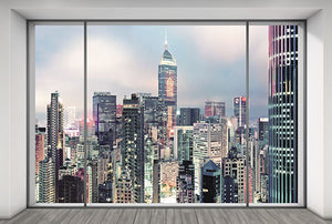 Suite Wall Mural-skyline view of city through 3-paned glass window