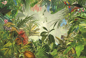 Into The Wild Wall Mural-spectacular view of a tropical rain forest. Watch tigers, parrots and other exotic creatures in their natural habitat,