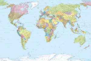 World Map Mural Komar-Major cities of each country pepper the map, along with rivers and geological landmarks.