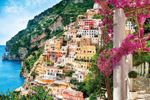 Positano Wall Mural-The Positano coast of Italy is a mix of lush greenery and classic colorful buildings.