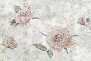 Tantinet Wall Mural-The large roses are covered in a crackle effect creating a textured finish.