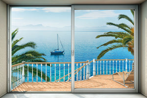 Tranquillo Wall Mural-design gives the look of a tropical waterfront cabana with a sun bathed balcony.