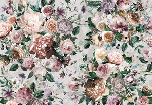 Victoria Wall Mural-Pink and peach roses are accented by green leaves and blue blooms.