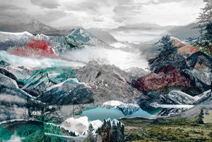 Up and Down Wall Mural-The abstract design features a collage of mountains with red and teal overlays.