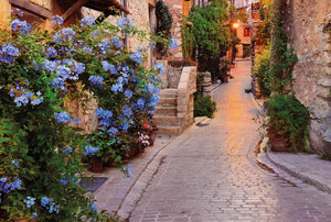 Vicolo Wall Mural-The cobblestone walkway is covered in blooming flower pots and vines.