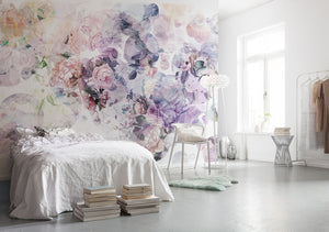 Wish Wall Mural-The bubbles of color and print are filled with roses, city landscapes, mountains, and greenery.  hung in bedroom