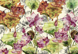 Lotus Wall Mural-lotus flowers with vibrant green leaves and magenta blossoms