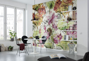 Lotus Wall Mural-lotus flowers with vibrant green leaves and magenta blossoms. hung in dining area