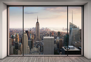 Penthouse Mural-New York skyline and a chic penthouse style window and flooring. Wispy clouds shine in the morning sun.