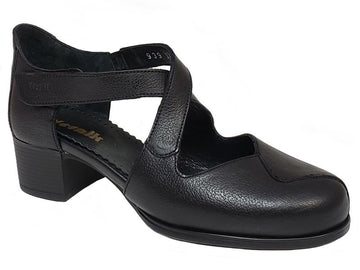 Vienna Closed Toe Velcro Strap Low Chunky Heel Ladies' Dress Shoes