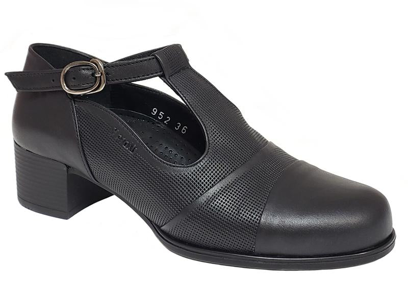 Paris Closed Toe Velcro Strap Buckle Style Low Chunky Heel Ladies' Dress Shoes
