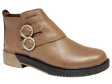 Zurich Plain Toe Double Buckle Side Zip Two Toned Outsole Ladies' Ankle Boots