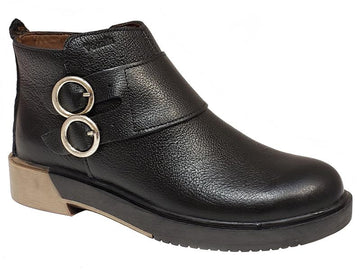Melbourne Plain Toe Double Buckle Side Zip Two Toned Outsole Ladies' Ankle Boots