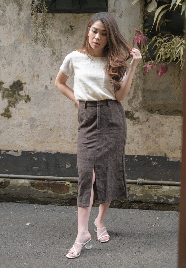Anella Skirt Tweed Brown