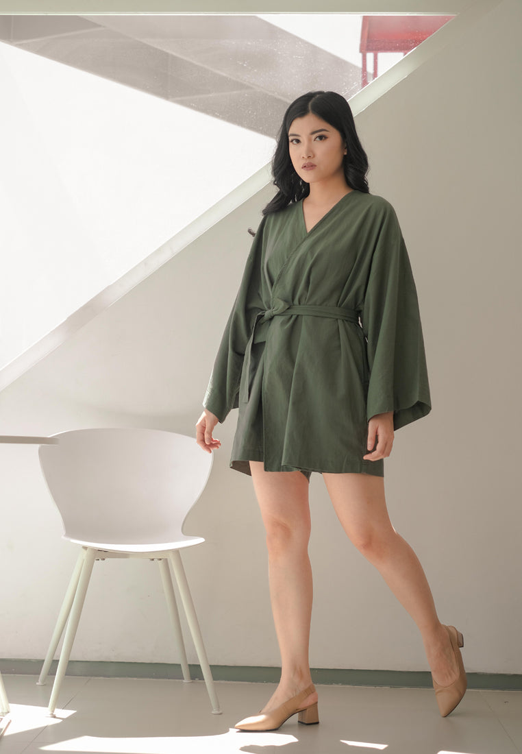 Ashley Jumpsuit Moss Green + Scrunchy