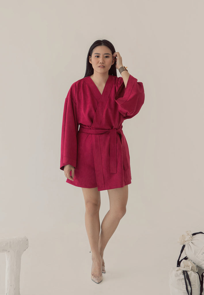 Ashley Suede Jumpsuit Red Velvet