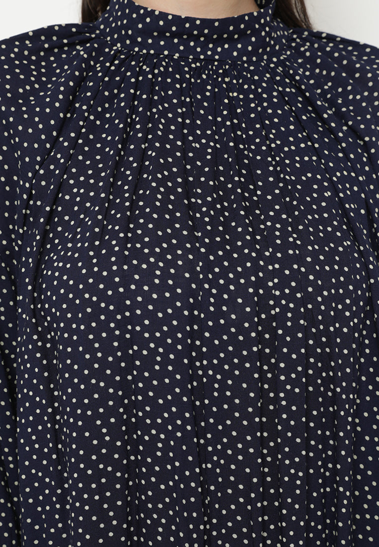Octarina Dress Printed Polka Navy