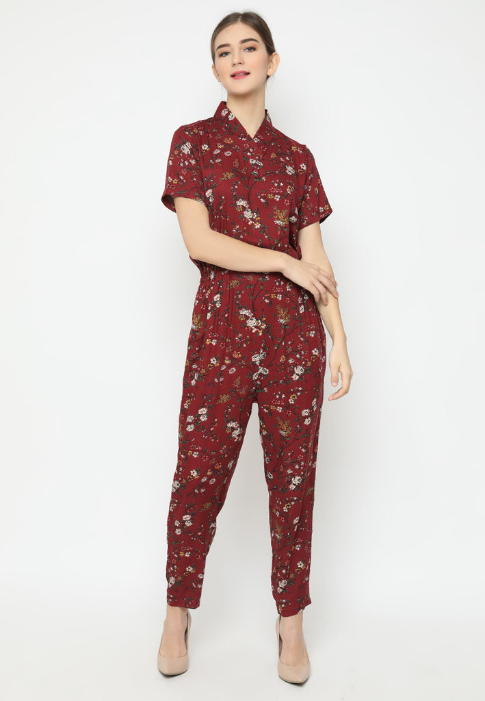 Xiaoli Jumpsuit Cheongsam Red
