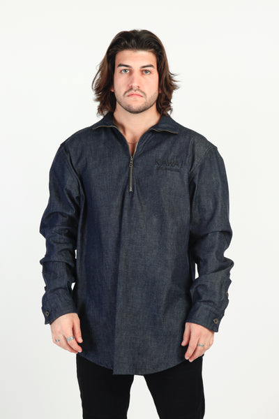 DENIM 3/4 ZIP SHIRT