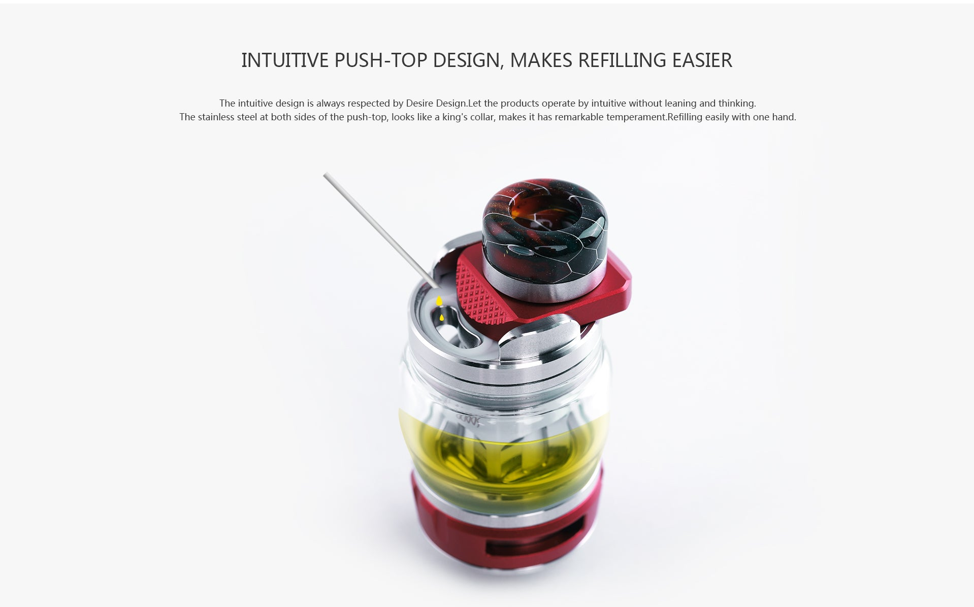4.3ml E-Juice capacity Large capacity storage tank,reduces the number of E-Juice injections and makes VAPE last longer