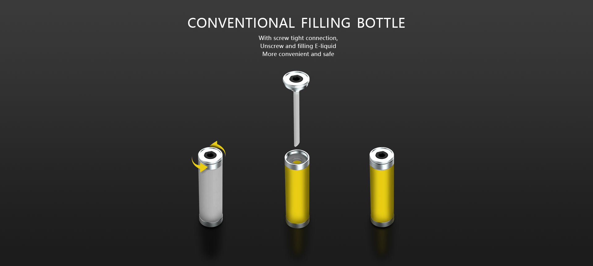 Conventional filling bottle  With screw tight connection, Unscrew and filling E-liquid More convenient and safe