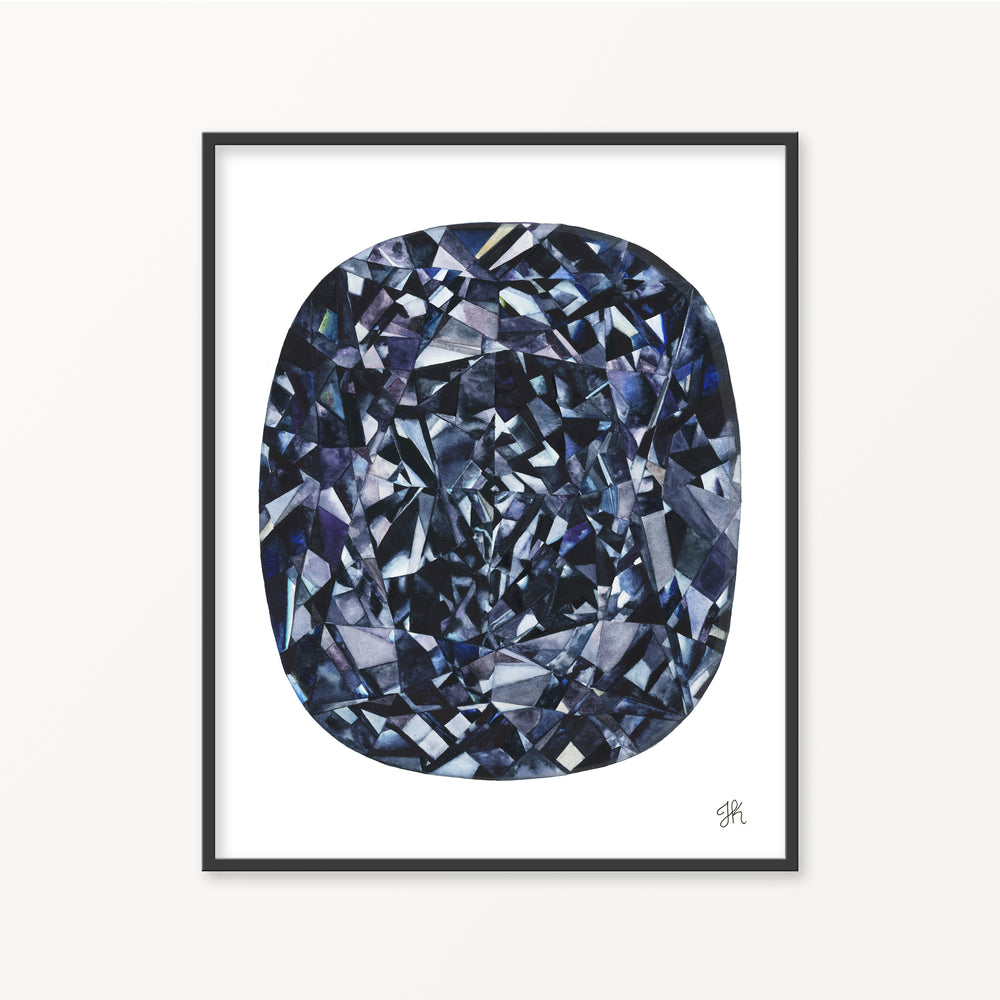 Blue Diamond Watercolor Print