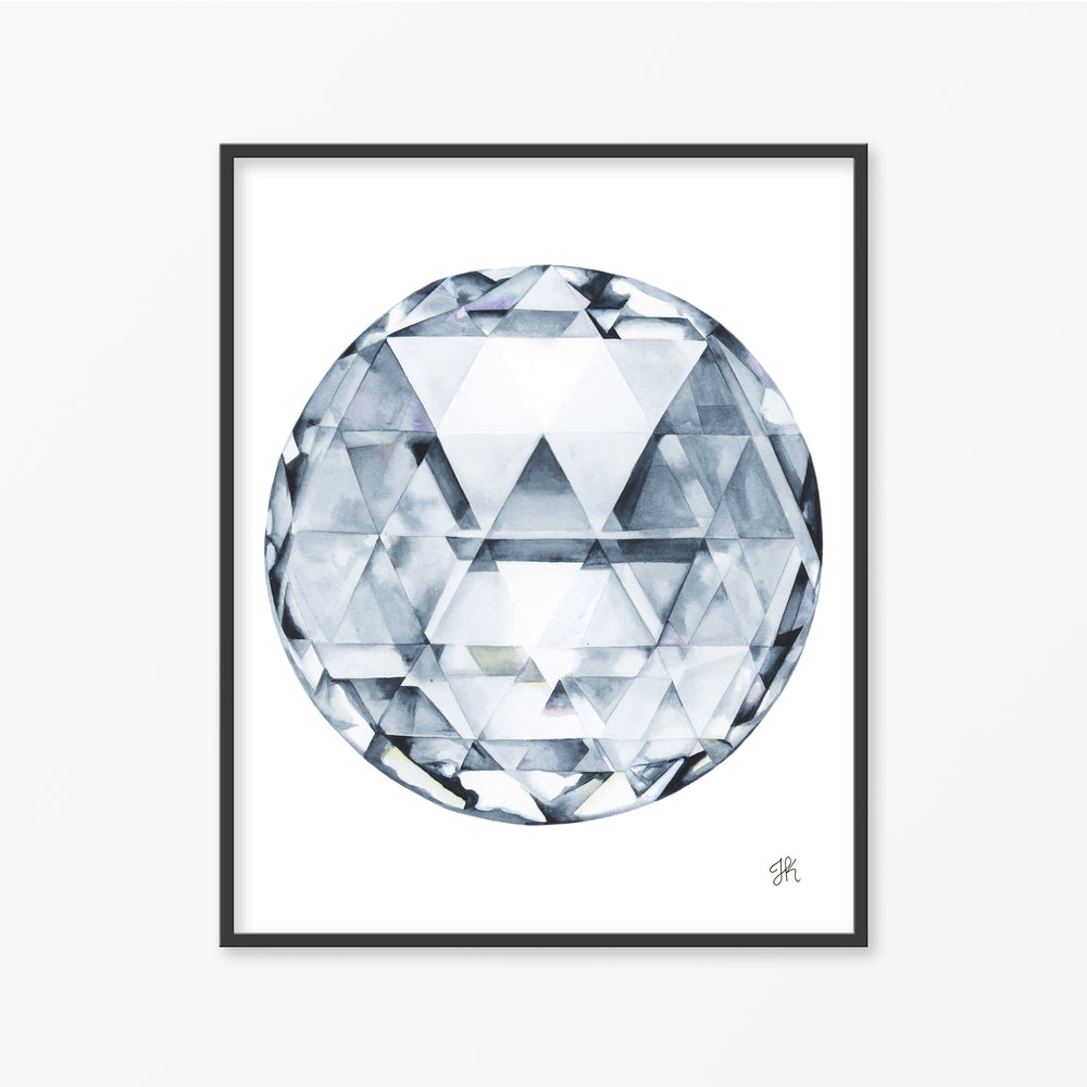 Double Rose Cut Diamond Watercolor Print