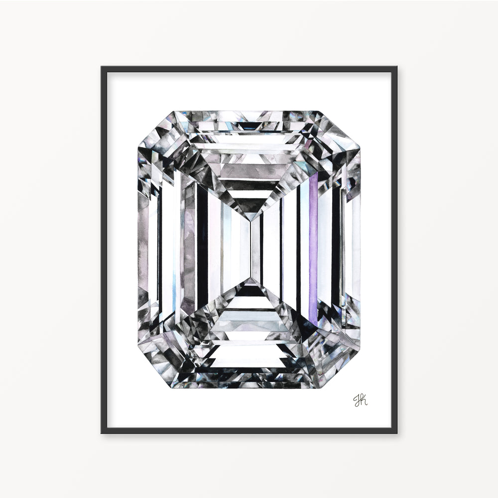 Emerald Cut Diamond Watercolor Print