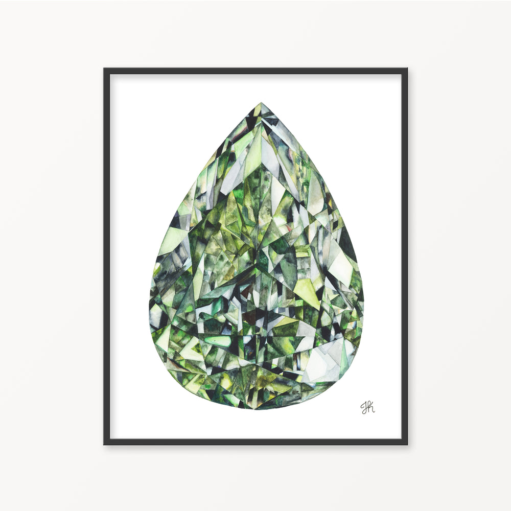 Green Diamond Watercolor Print