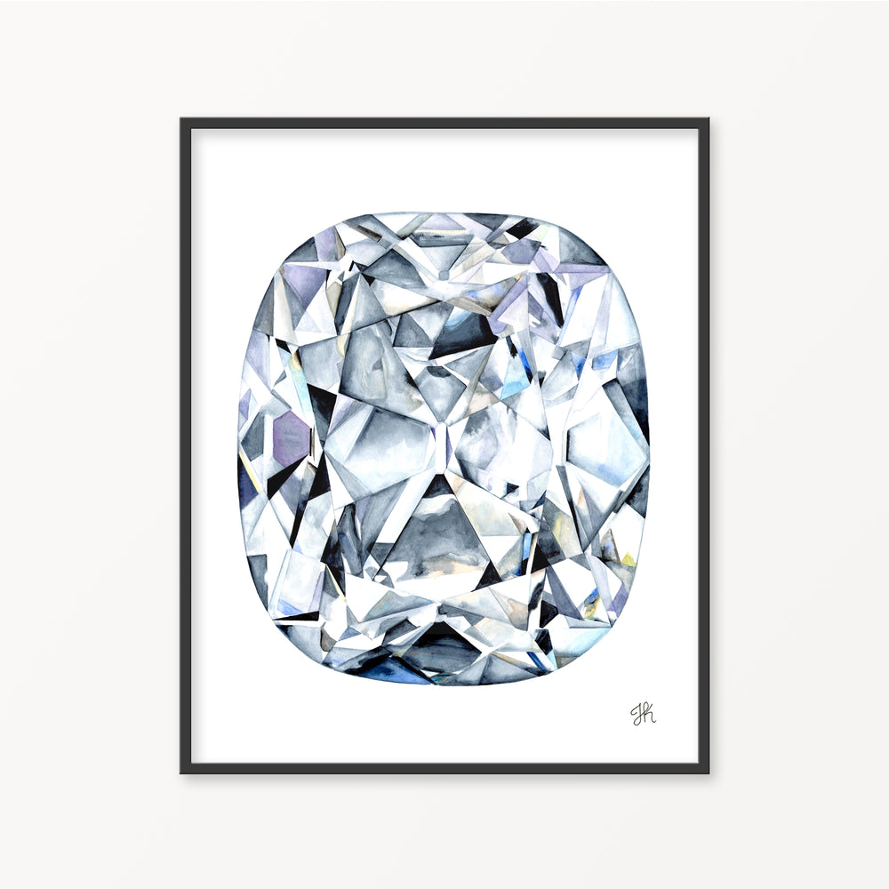 Old Mine Cut Diamond Watercolor Print