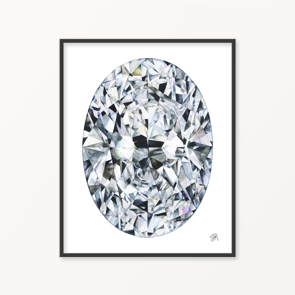 Oval Diamond Watercolor Print