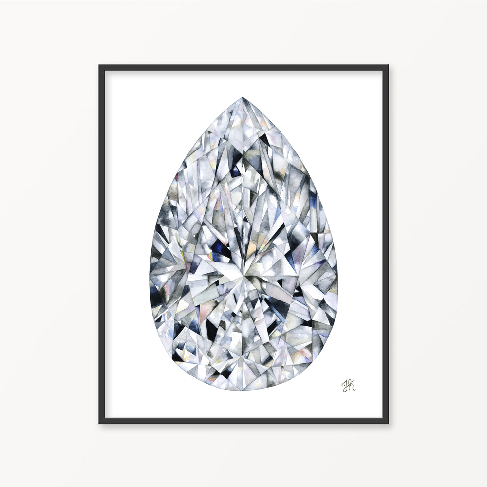 Pear Cut Diamond Watercolor Print