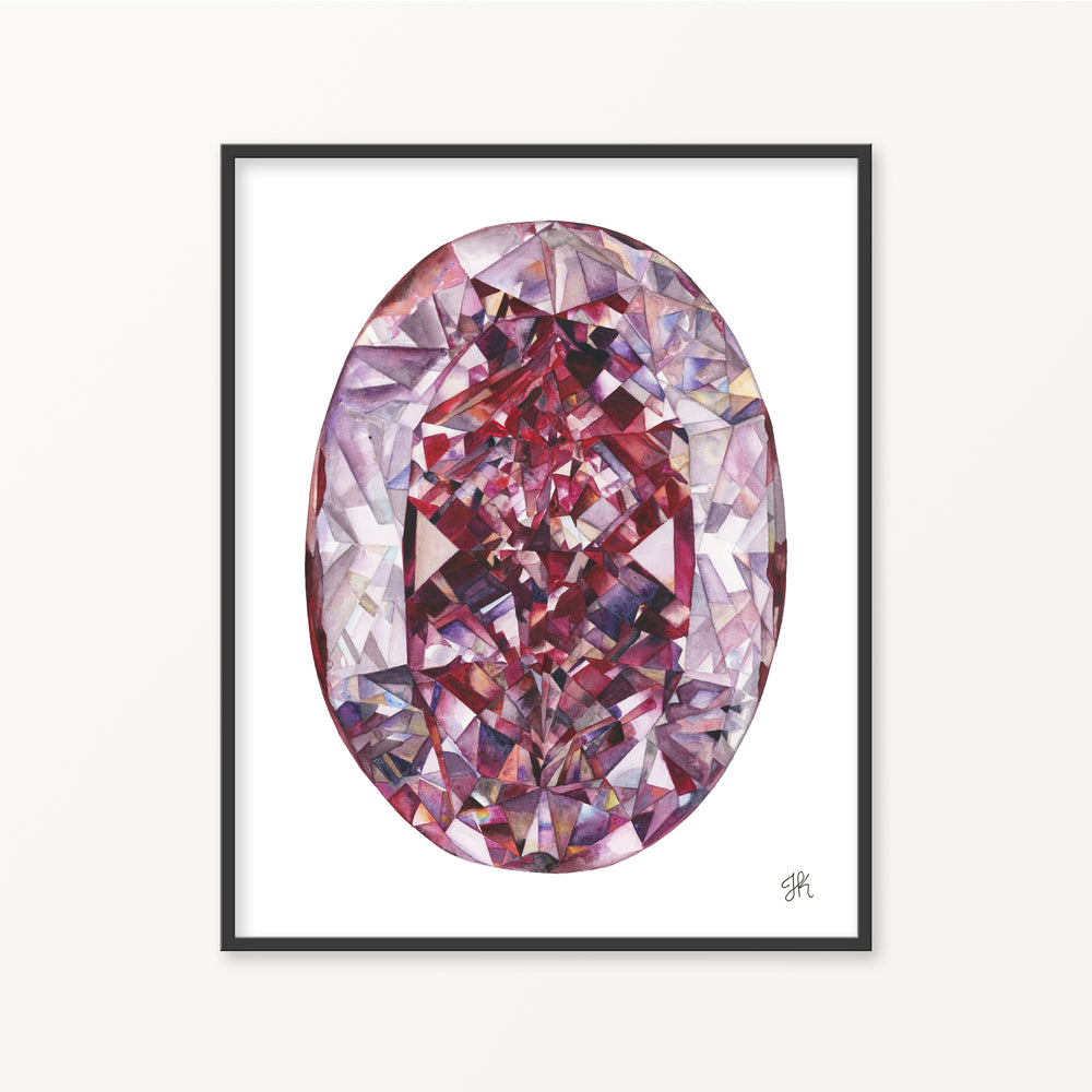 Pink Diamond Watercolor Print