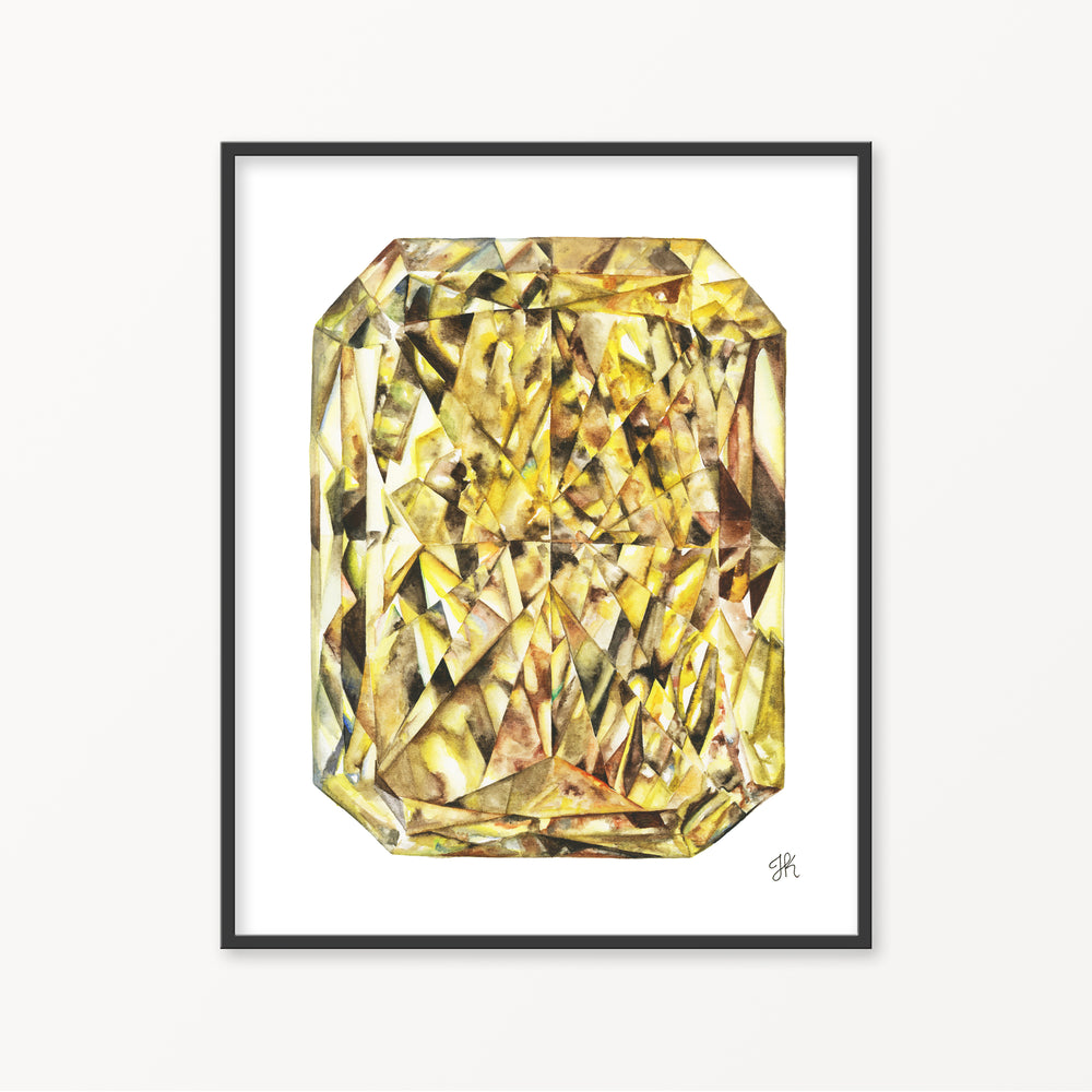 Yellow Diamond Watercolor Print