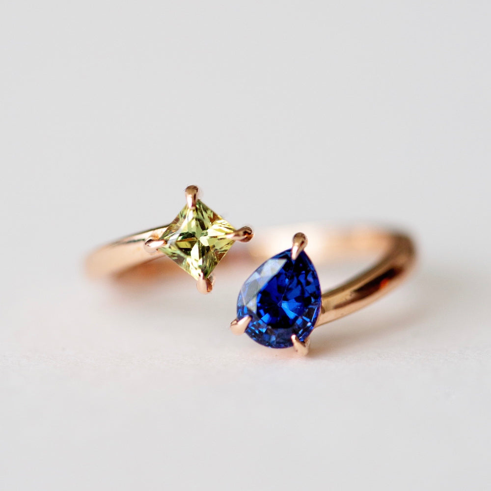 Two Sapphire Open Ring