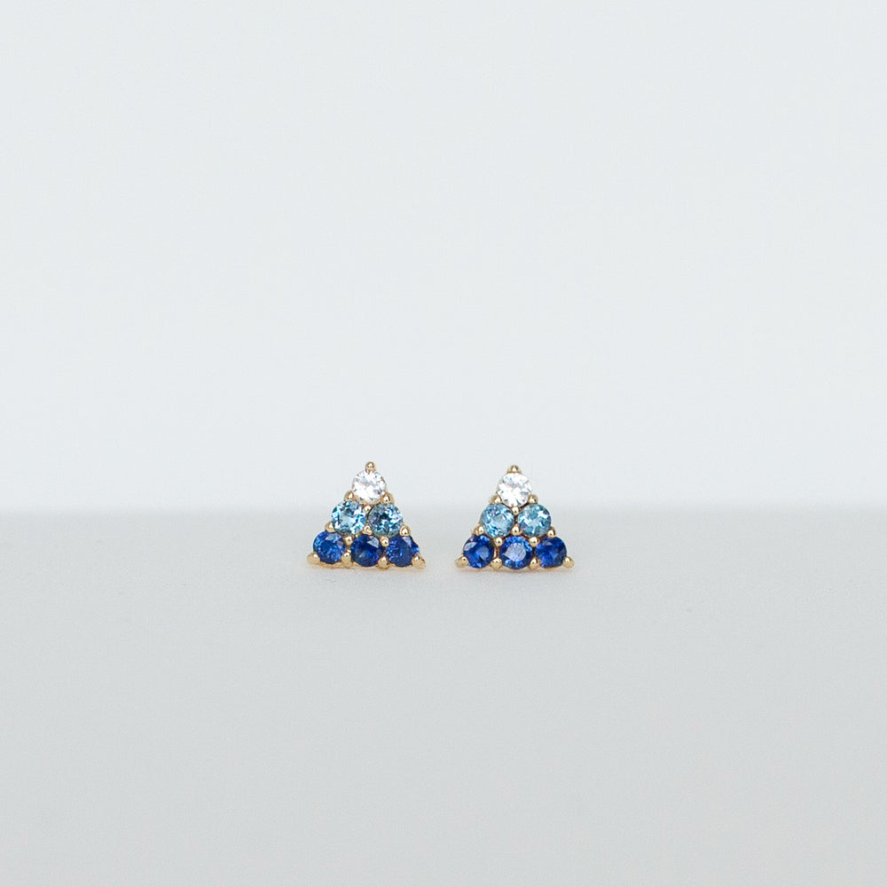 The Pyramid Studs (14k Yellow + Blue)
