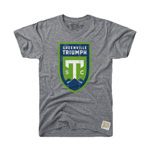 Greenville Triumph Retro Brand Grey Tri-Blend Tee