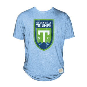 Greenville Triumph Retro Brand Light Blue Tri-Blend Tee