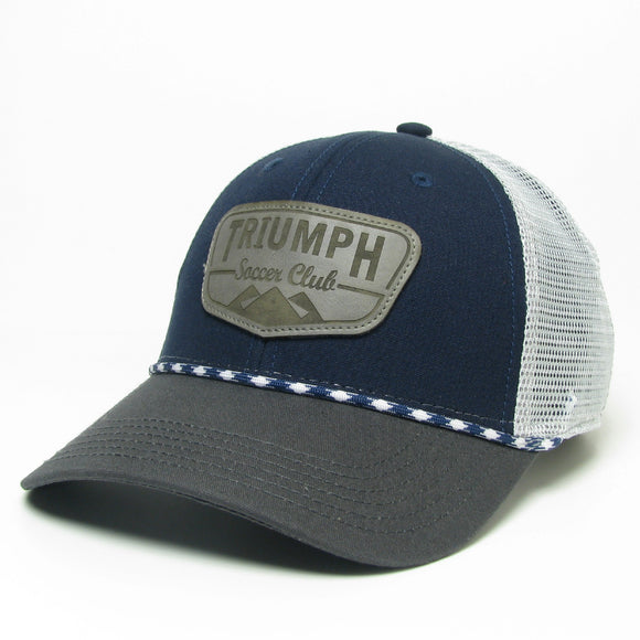 Legacy Navy/Grey Mid-Pro Snapback Leather Patch Hat