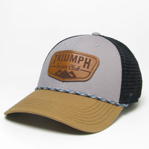 Legacy Grey/Tan/Black Mid-Pro Snapback Leather Patch Hat