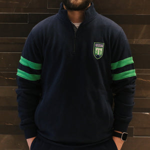SDS Youth Navy & Green Striped 1/4 Zip Jacket