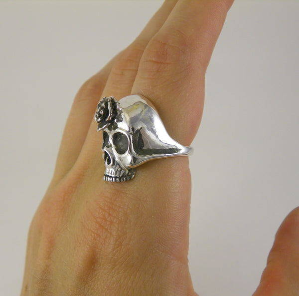 Third Eye Rose Skull Ring