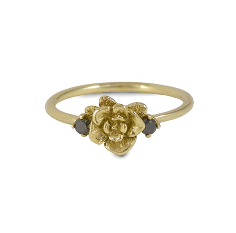 Gold Mini Rose Ring with Black Diamonds