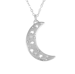 Crescent Moon Necklace with Diamonds
