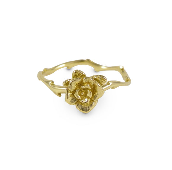 Gold Mini Flowing Rose Ring