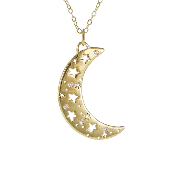 Gold Crescent Moon Necklace with Diamonds